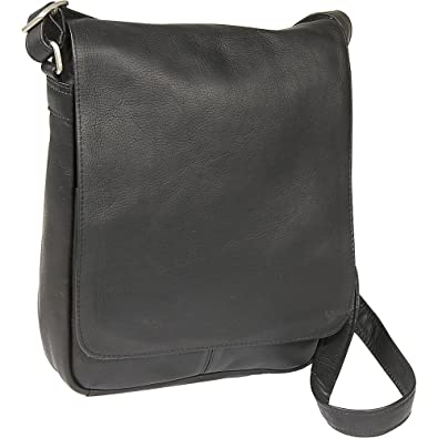 Le Donne Leather Flap Over Shoulder Bag (Black): Handbags: Amazon.com