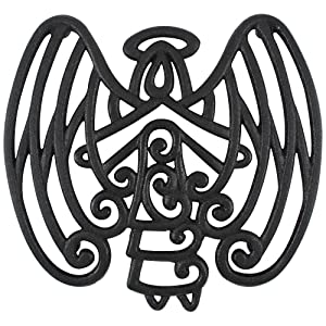 Cara's Casa Angel Trivet - Cast Iron - for Kitchen and Dining Table - Wall Art or Decoration Accessory - Housewarming, Black