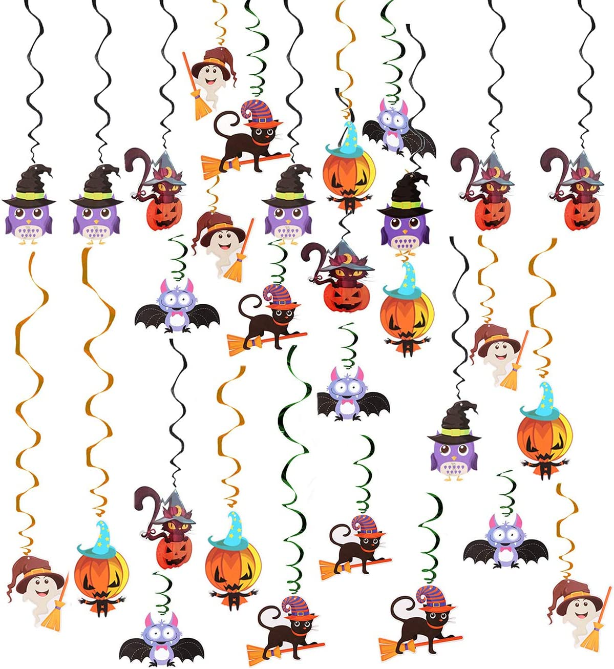 Cat Owl Cutouts 30pcs Halloween Celling Hanging Swirl Yard Party Decorations Whirls Streamers Party Favor Supplies Included Bats Fashionclubs Halloween Hanging Swirl Decorations Pumpkin Ghost Witch