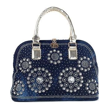 Damen Denim Schultertaschen Henkeltaschen Damentasche Schultertaschen Handtasche (Denim Blau+ PU Gold) Kaxidy EV4gaH
