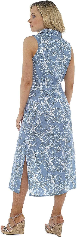 Abito Lungo da Donna Vestito Camicia Midi con Cintura CityComfort Abito-Camicia di Lino Kaki O Blu Vestiti Estivi Eleganti Senza Maniche