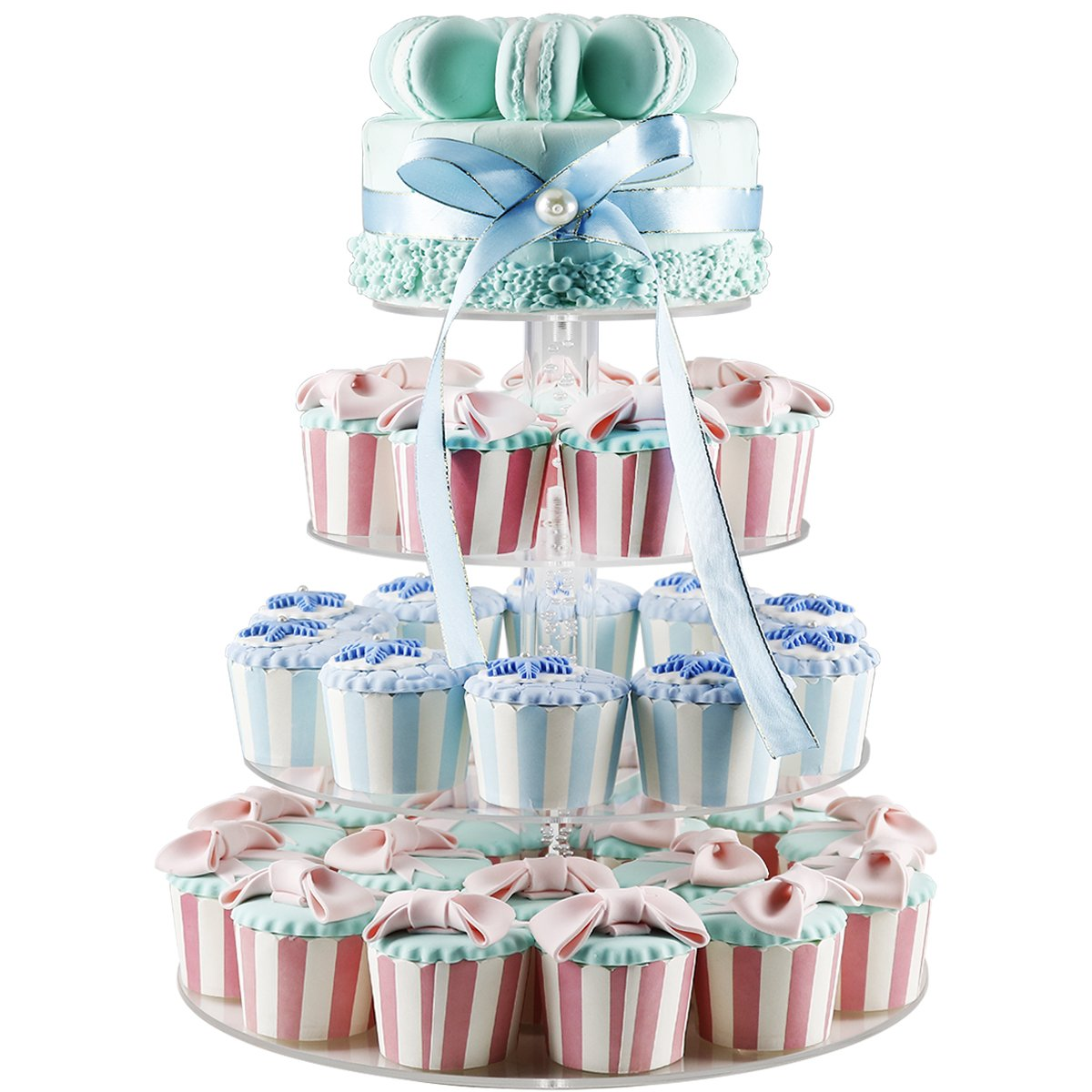 2018 New Style 4 Tiers Cupcake Stands Tower - Clear Acrylic Display Holder Tree - Tiered Cupcake Display- Tiered Round Pastry Stand Dessert Stands Wedding Cake Stands For Parties Birthday - DYCacrlic by DYCacrlic (Image #5)