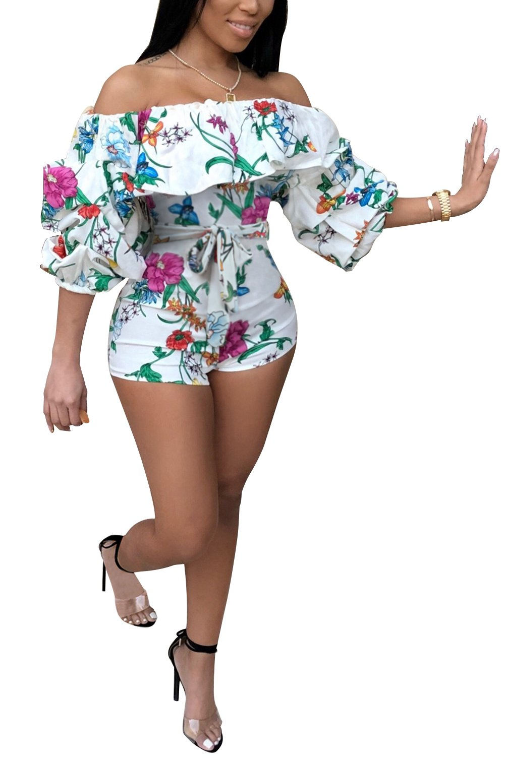 LKOUS Womens Summer Sexy Off Shoulder Floral Print Bodycon Short Pants Clubwear Jumpsuits Rompers with Belt