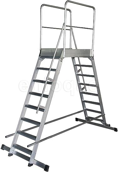 Escalera profesional de aluminio móvil dos accesos con plataforma de trabajo 60x60 de 6 peldaños serie store 2 accesos almacén: Amazon.es: Hogar
