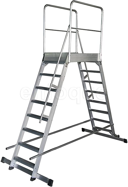 Escalera profesional de aluminio móvil dos accesos con plataforma de trabajo 60x90 de 5 peldaños serie store 2 accesos almacén: Amazon.es: Hogar