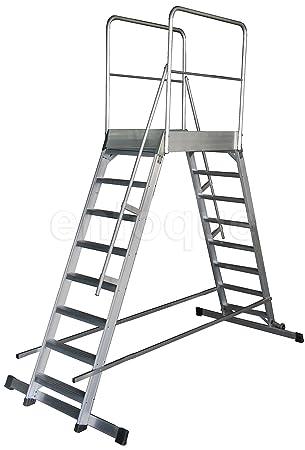 Escalera profesional de aluminio móvil dos accesos con plataforma de trabajo 60x90 de 3 peldaños serie store 2 accesos almacén: Amazon.es: Hogar