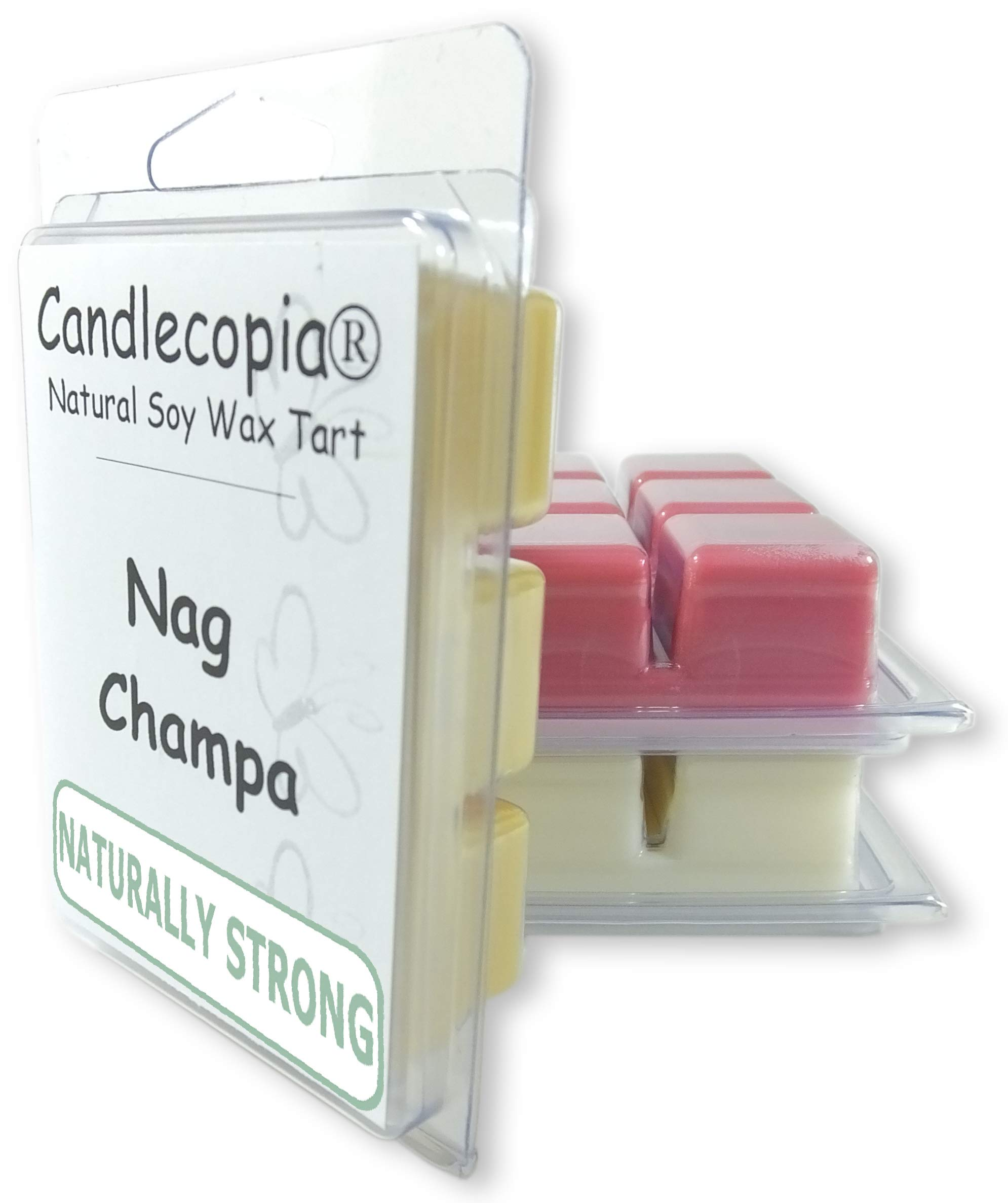 Candlecopia Nag Champa, Dragon's Blood and Vanilla Sandalwood Strongly Scented Hand Poured Vegan Wax Melts, 18 Scented Wax Cubes, 9.6 Ounces in 3 x 6-Packs