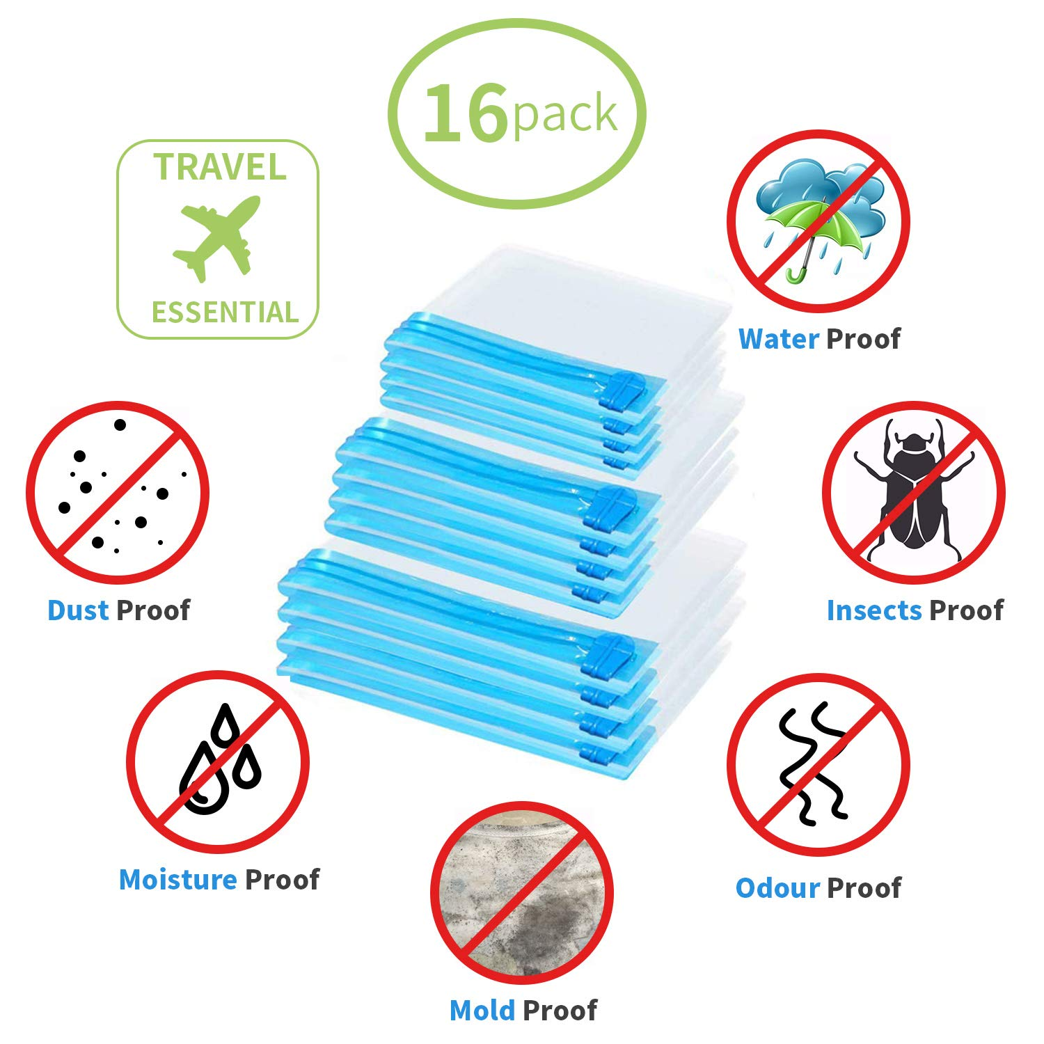 16 Pack Reusable Travel Roll Up Compression Bags Small Medium Large Size Space Saver Compression Sealer Bags for Duvets Clothes Bedding Blankets Home Storage ELECTRAPICK Vacuum Storage Bags