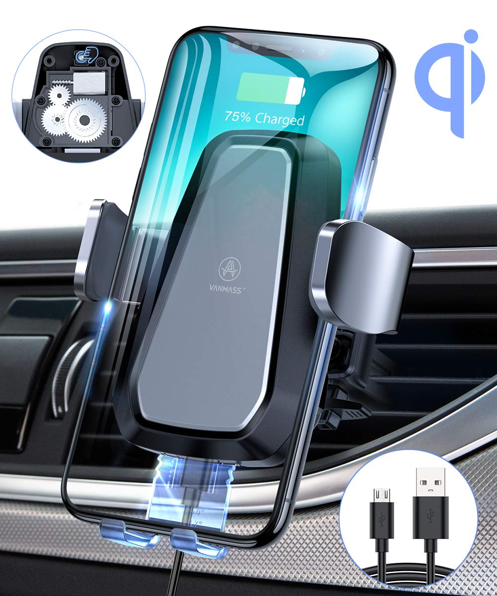 VANMASS Qi Wireless Car Charger Mount, Automatic Clamping, 10W Fast Charging, Air Vent Motorized Cell Phone Holder for Car Compatible with iPhone 11 Xs Max XR 8, Samsung S10 S9 Note 10, LG V30, etc by VANMASS