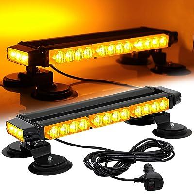 ASPL 16.8 Inch LED Strobe Flashing Light Bar, 26 Flashing Modes High Intensity Emergency Hazard Warning Beacon Lights with Magnetic Base for Car, Trucks, Snow Plow, Construction Vehicles (Amber): Automotive