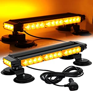 ASPL 16.8 Inch LED Strobe Flashing Light Bar, 26 Flashing Modes High Intensity Emergency Hazard Warning Beacon Lights with Magnetic Base for Car, Trucks, Snow Plow, Construction Vehicles (Amber)