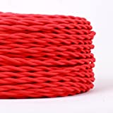 (MLCA008) 3 CORE Red - ANTIQUE BRAIDED TWISTED WOVEN SILK FABRIC LAMP FLEXIBLE CABLE WIRE CORD LIGHT