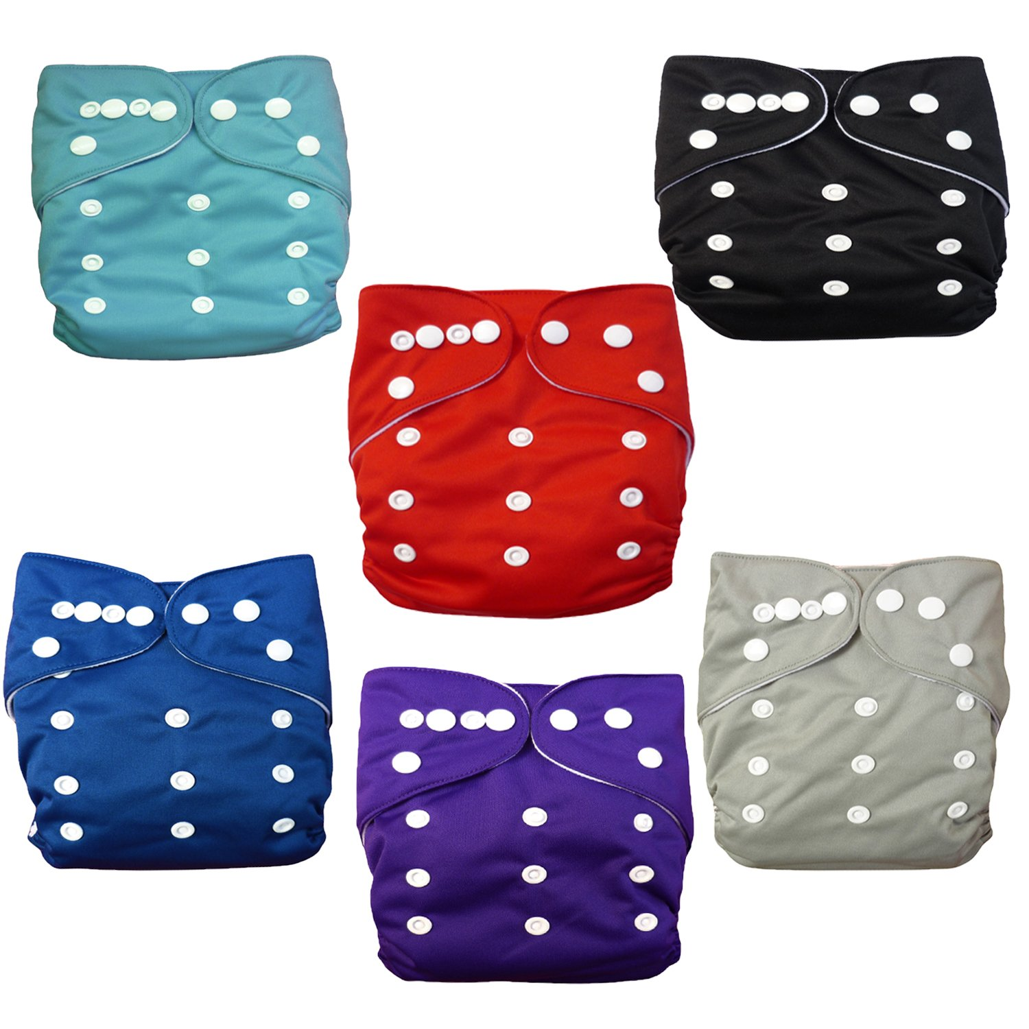 ALVABABY 6pcs Pack Pocket Cloth Diaper with 2 Inserts Each (Boy Color) 6BM99