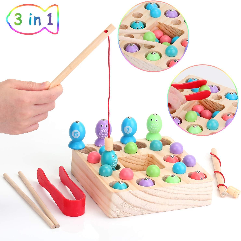 26pcs Set Ekkong 3 En 1 Jeu De Peche Magnetique En Bois Pour Enfant Magnetique Peche Puzzle Cadeau Enfant 3 4 5 6 Ans Jeu De Peche A La Ligne Jeux De