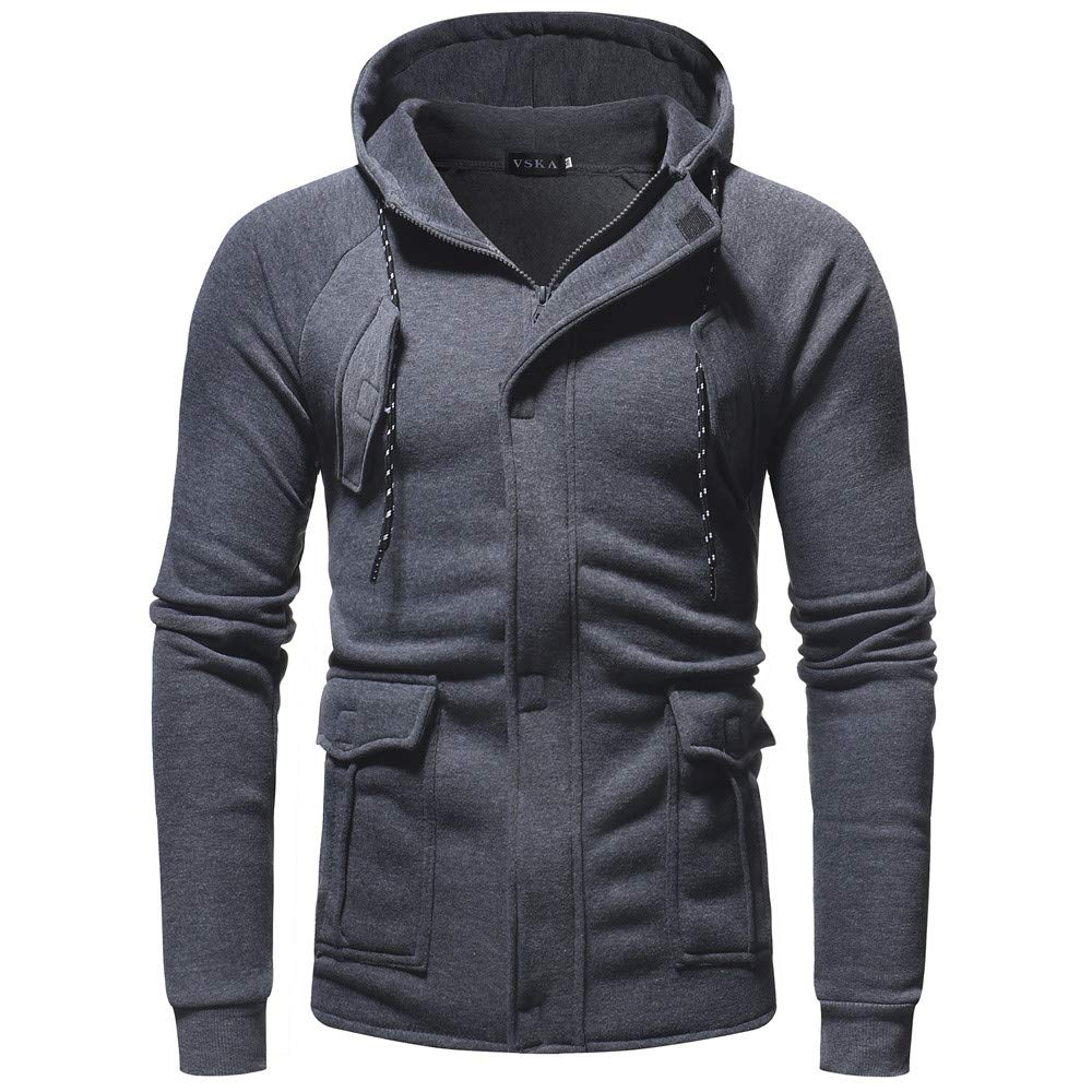 PASATO Men's Autumn Winter Casual Long Sleeve Zipper Pocket Work Hooded Top Coat Blouse T-Shirt Pure Color Clothes(Dark, M)