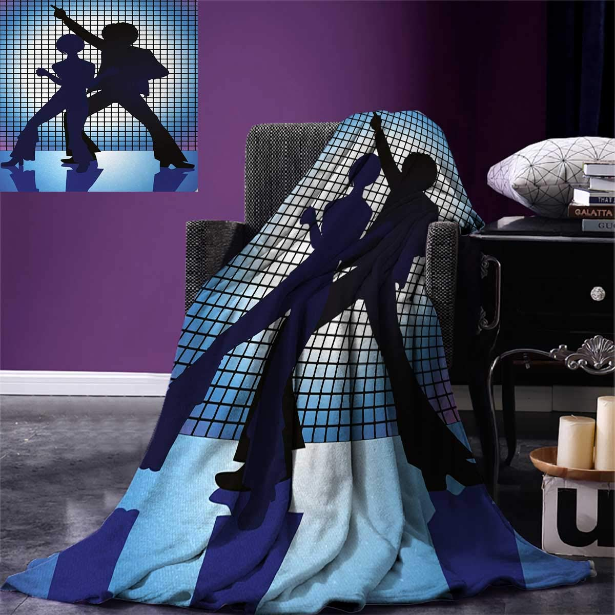 70s Party Digital Printing Blanket Couple Silhouettes on The Dance Floor in Night Life Oldies Seventies Fun Summer Quilt Comforter 80''x60'' Blue Purple Black