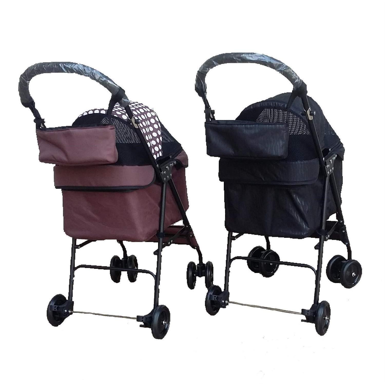 Coffee ZPWSNH Lightweight Pet Stroller, Dog Stroller Four-Wheeled Pet Car Pet car seat (color   Coffee)