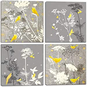 Flowers Birds Wall Art Abstract Print Canvas Home Decor Pictures 4 Panels Poster for Bedroom Living Room Office Large Yellow and Gray Painting Photo Framed Ready to Hang(12x12inchx4)