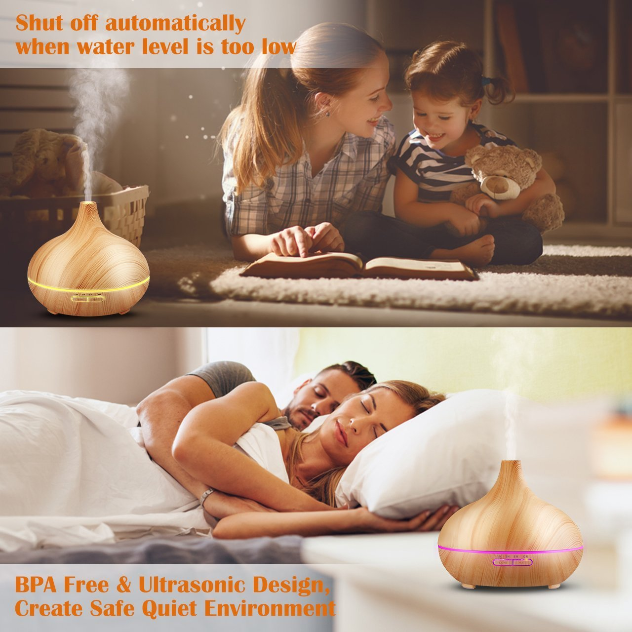 300ml Cool Mist Ultrasonic Humidifier, Aroma Essential Oil Diffuser, Waterless Auto Off, For Office Home Bedroom Living Room Study Yoga Spa (Wood Grain) by TuChang (Image #4)
