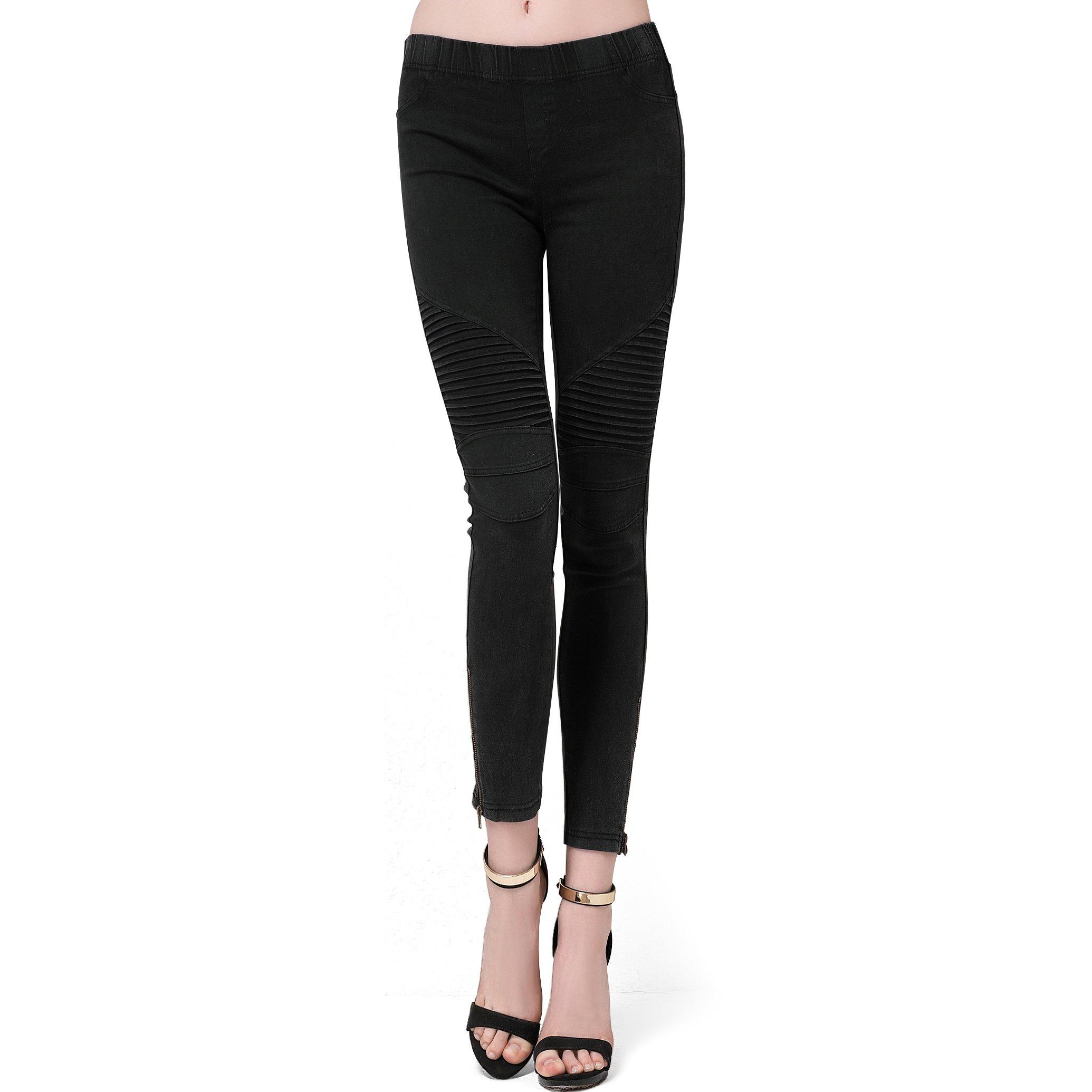 Bitlive Women's Comfy Stretch Ankle Zip Moto Skinny Pants (Large, black)
