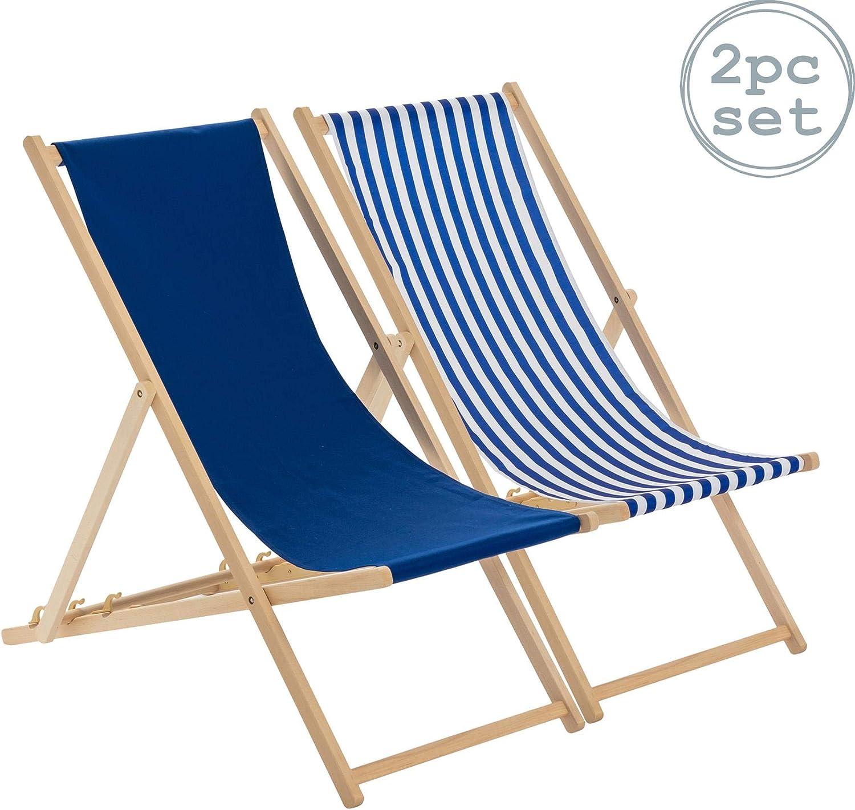 Harbour Housewares Tumbonas reclinables y Plegables - Ideales para Playa y jardín - Estilo Tradicional - Azul Marino/Rayas