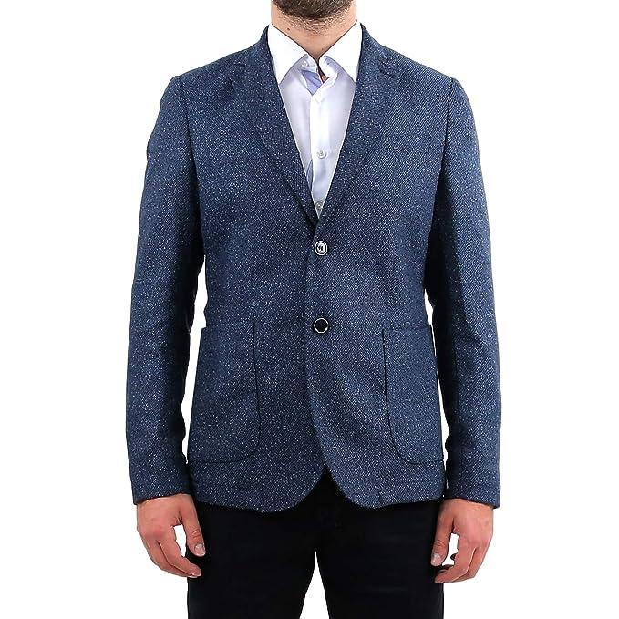 Giacca Uomo Elegante in Lana Slim Fit Blu Invernale Sartoriale Classica  Blazer 2 Bottone Tessuto Follatino 100% Made in Italy da Cerimonia Abito 48  50 52 ... bb2e9decea9