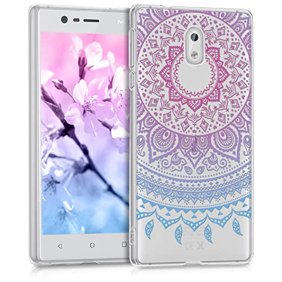 brand new 68793 732cf kwmobile TPU Silicone Case for Nokia 3 - Crystal Clear Smartphone Back Case  Protective Cover - Blue/Dark Pink/Transparent