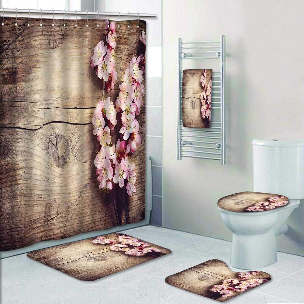 Philip-home 5 Piece Banded Shower Curtain Set Spring Blossom Over Wood Pattern Adornment