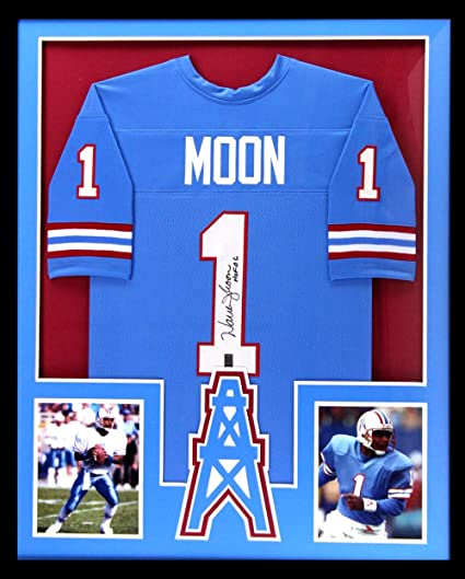 Image Unavailable. Image not available for. Color  Warren Moon  Autographed Signed Houston Framed Throwback Powder Blue Custom Jersey ... 0190ca79f
