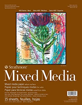 11x14 Glue Bound Strathmore 462-311 400 Series Toned Gray Mixed Media Pad 15 Sheets per Pad