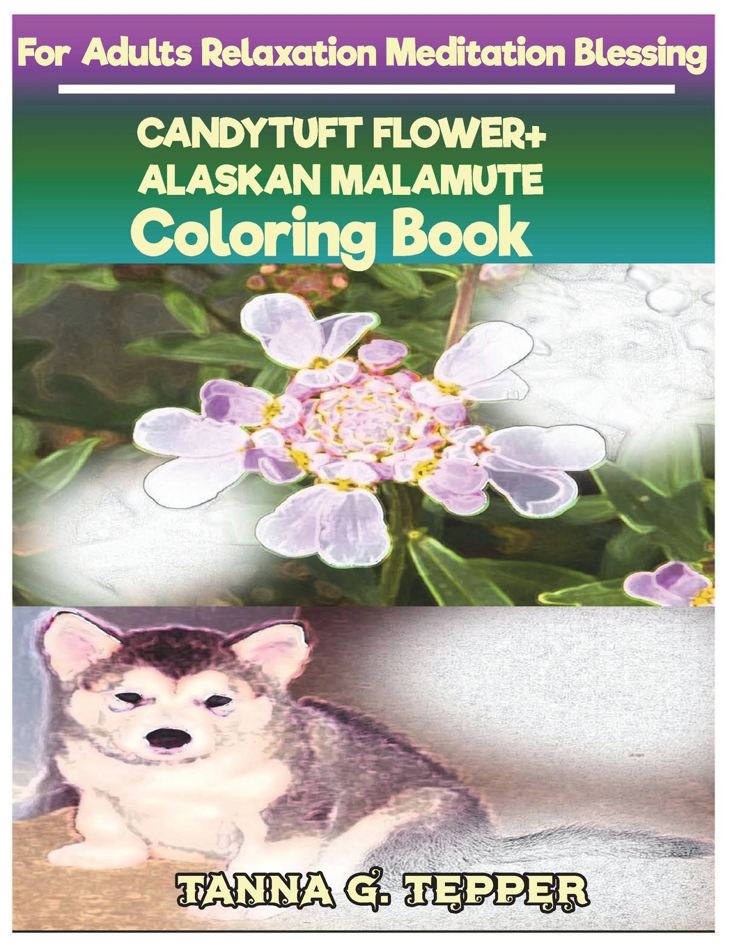 CANDYTUFT FLOWER+ALASKAN MALAMUTE Coloring book for Adults Relaxation Meditati: Sketch coloringbook Grayscale Pictures pdf epub