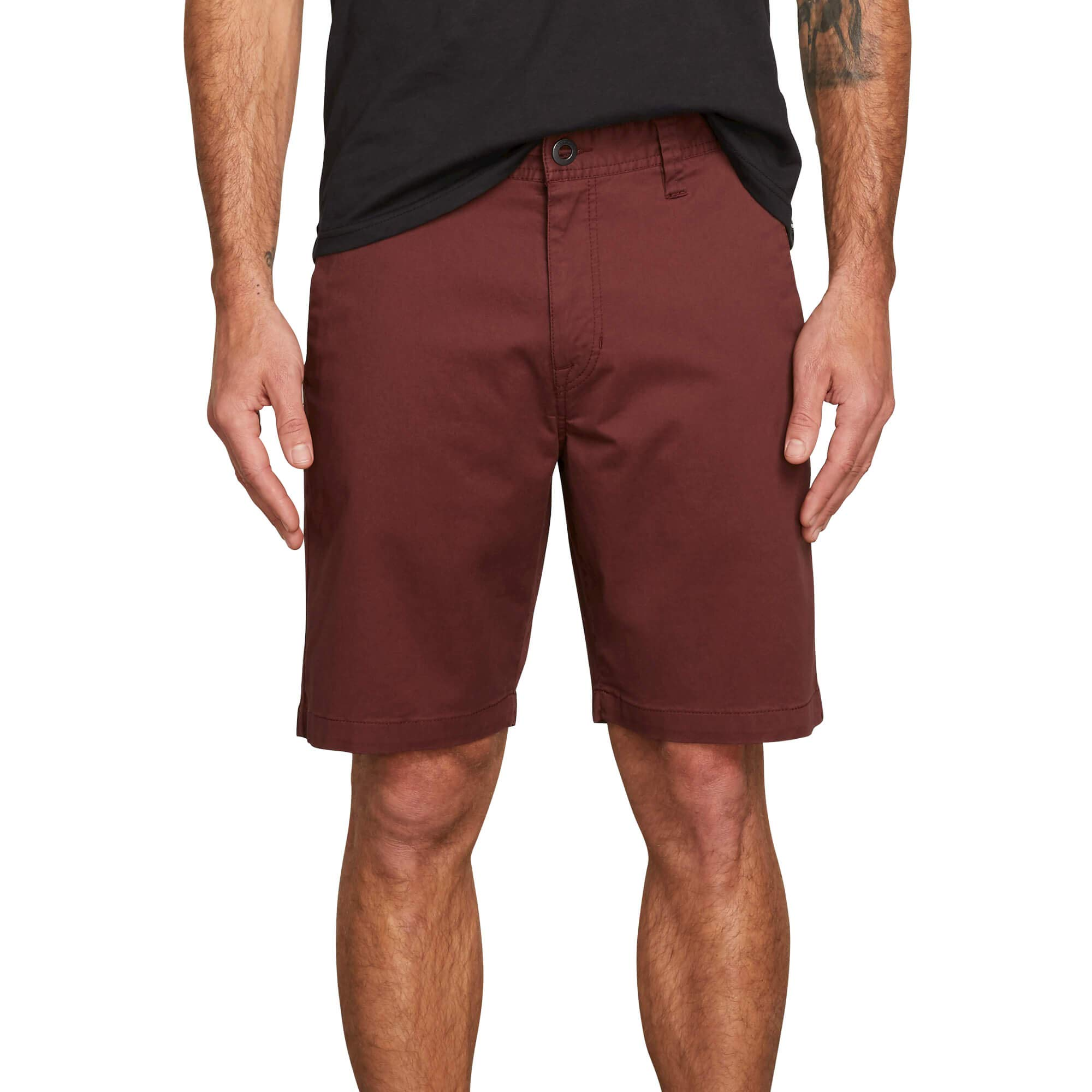 Volcom Men's Frickin Modern Stretch Chino Short, Bordeaux Brown, 38