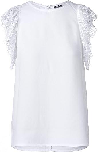 GULLIVER Camiseta infantil de manga corta para niña, color blanco, con encaje, 8-13 años, 134-164 cm