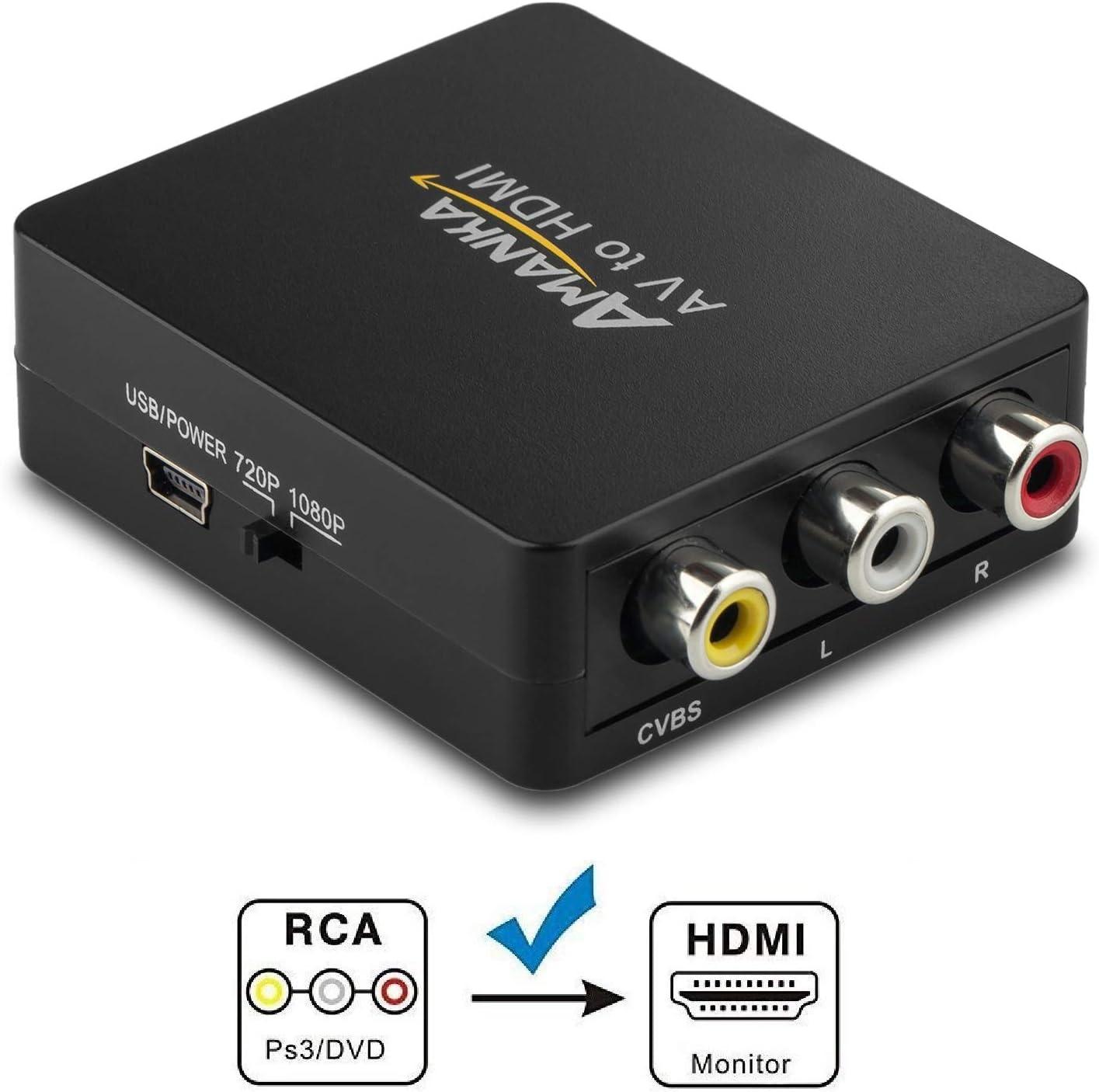 Adaptador RCA a HDMI, amanka AV a HDMI convertidor AV a HDMI Adaptador Soporte 1080p para PC/Xbox/PS4/PS3/TV/STB/VHS/VCR/cámara/DVD: Amazon.es: Electrónica