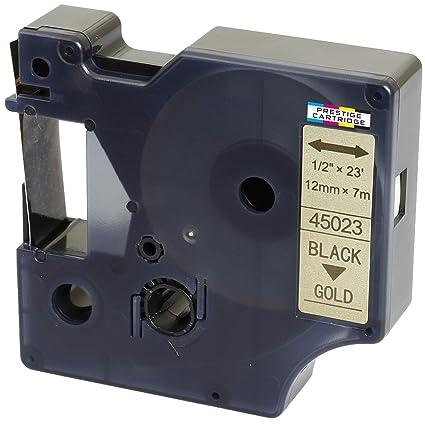 Compatible Casete D1 45023 negro sobre oro 12mm x 7m cinta para ...