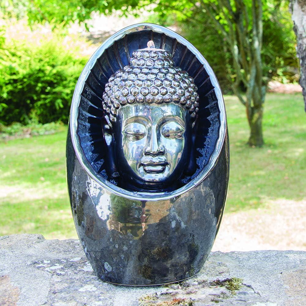 Gardenesque Mirrored Glaze Buddha Head Water Feature