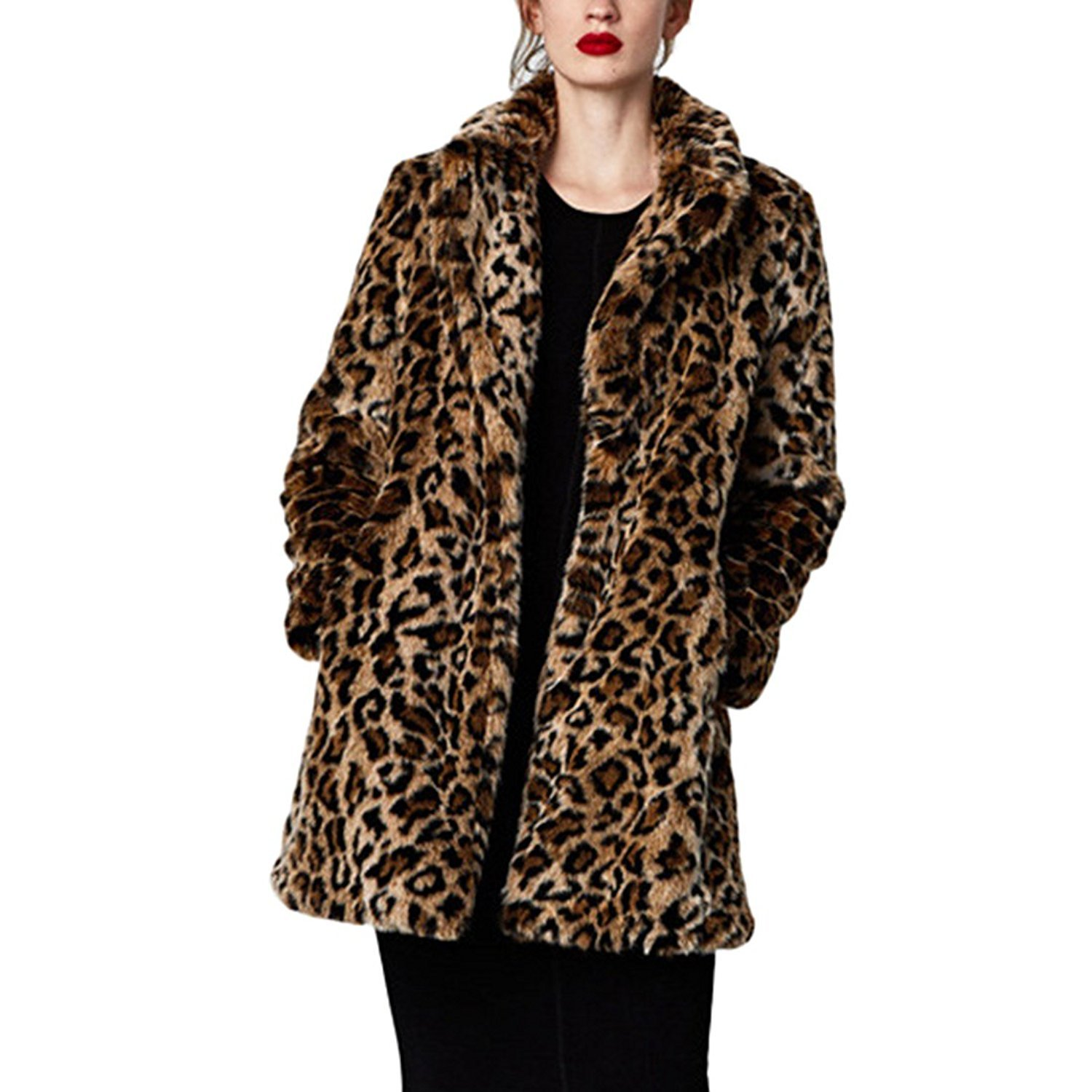 Women Warm Long Sleeve Parka Faux Fur Coat Overcoat Fluffy Top Jacket Leopard (US 10 (Slim Style) / Asian XL)
