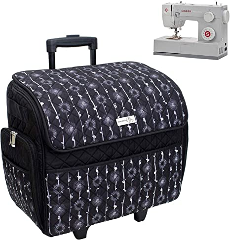 Black Vines//Floral Everything Mary Whee Deluxe Quilted Black /& Floral Rolling Tote Case Fits Most Brother /& Singer Machines Bag with Wheels /& Handle-Portable Sewing