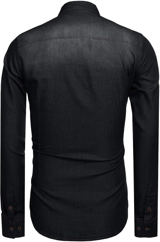 Coofandy Mens Denim Shirts Western Slim Fit Long Sleeve Casual Button Down Shirt