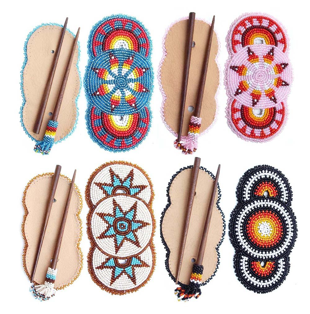 Handmade Seed Beaded Flower Bead Work Multi Color Wood Stick Hair Barrette Wholesale Z-40-8,2,13,11