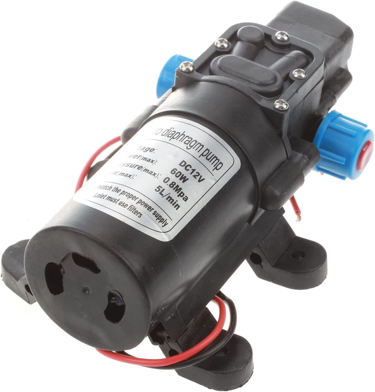 min 60W Pompe electrique a membrane a eau de haute pression pour la voiture Gaoominy 12V DC 5L