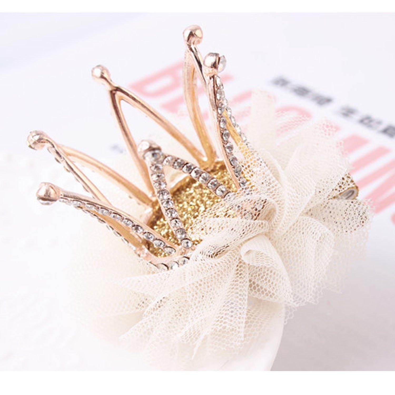 Girl's Diamond Crown Hair Pin Princess Flower Hair Clips Rhinestone Crystal Tiara Kids Party Hair Accessory (2)