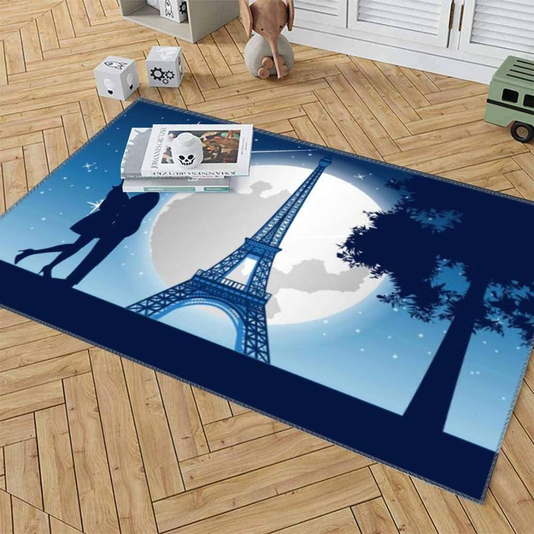 Area Rugs Couple Hug Together Around With Skyscraper Near Tree And Eiffel Tower Baby Rug For Crawling Kids Play Mat Room Decor Carpet Gift Game Floor Non Slip Pad Yoga Mats Throw