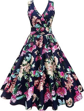 iBaste Vintage Cocktail Vestidos Mujer Impresión de Flores Falda ...