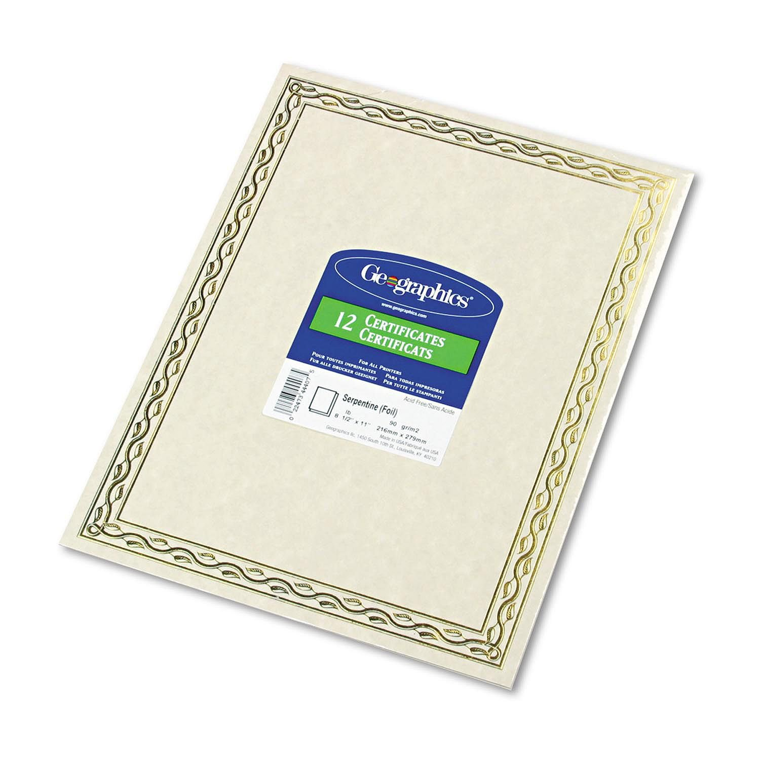 Geographics - Foil Stamped Award Certificates, 8-1/2 x 11, Gold Serpentine Border, 12 per Pack 44407 by Geographics (Image #1)