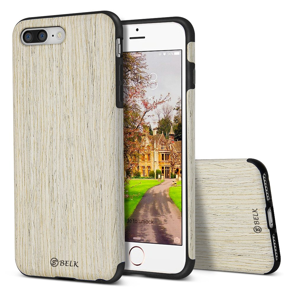 buy online 57f8c 1027d B BELK iPhone 8 Plus Case/iPhone 7 Plus Case, [Air To Beat] Non Slip Soft  Wood Slim Bumper, Scratch Resistant Grip Ultra Light TPU Snap Back Cover ...