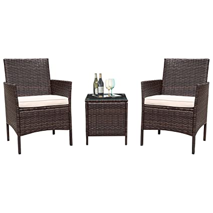Flamaker 3 Pieces Patio Furniture Set Modern Outdoor Furniture Sets Clearance Cushioned PE Wicker Bistro Set  sc 1 st  Amazon.com & Amazon.com: Flamaker 3 Pieces Patio Furniture Set Modern Outdoor ...
