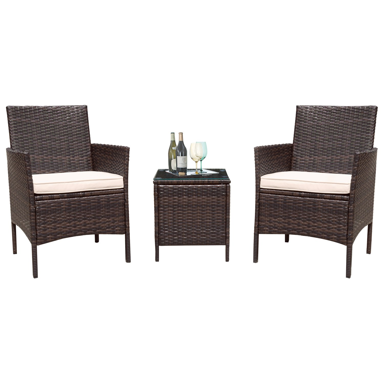Flamaker 3 Pieces Patio Furniture Set Modern Outdoor Furniture Sets Clearance Cushioned PE Wicker Bistro Set Rattan Chair Conversation Sets with Coffee Table (Brown Wicker) by Flamaker (Image #1)