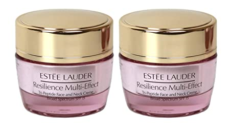 Lot of 2 x Estee Lauder Resilience Multi-Effect Tri-Peptide Face and Neck Creme SPF 15, 0.5 oz 15ml each, Travel Size Unboxed