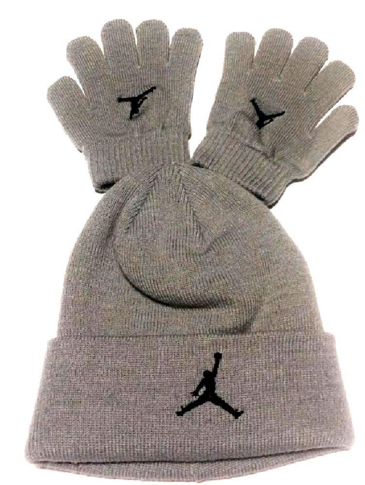 6ead97a9f4d Galleon - Nike Jordan Jumpman 23 Gray Beanie Hat Glove Gift Set 9A1263 Sz  Ages 8 20